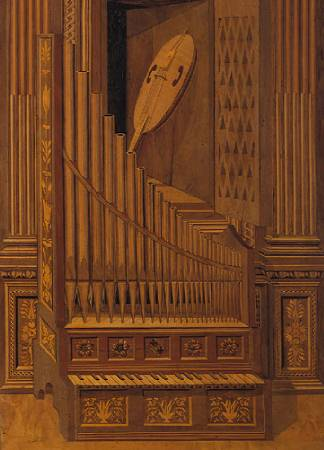 l'organo portatile in trompe l'oeil ed il violino nello scomparto